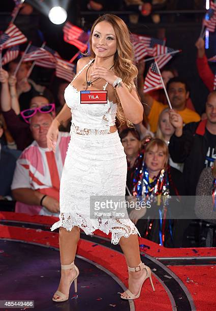 Tila Tequila enters the Celebrity Big Brother house at Elstree Studios on August 27 2015 in Borehamwood England