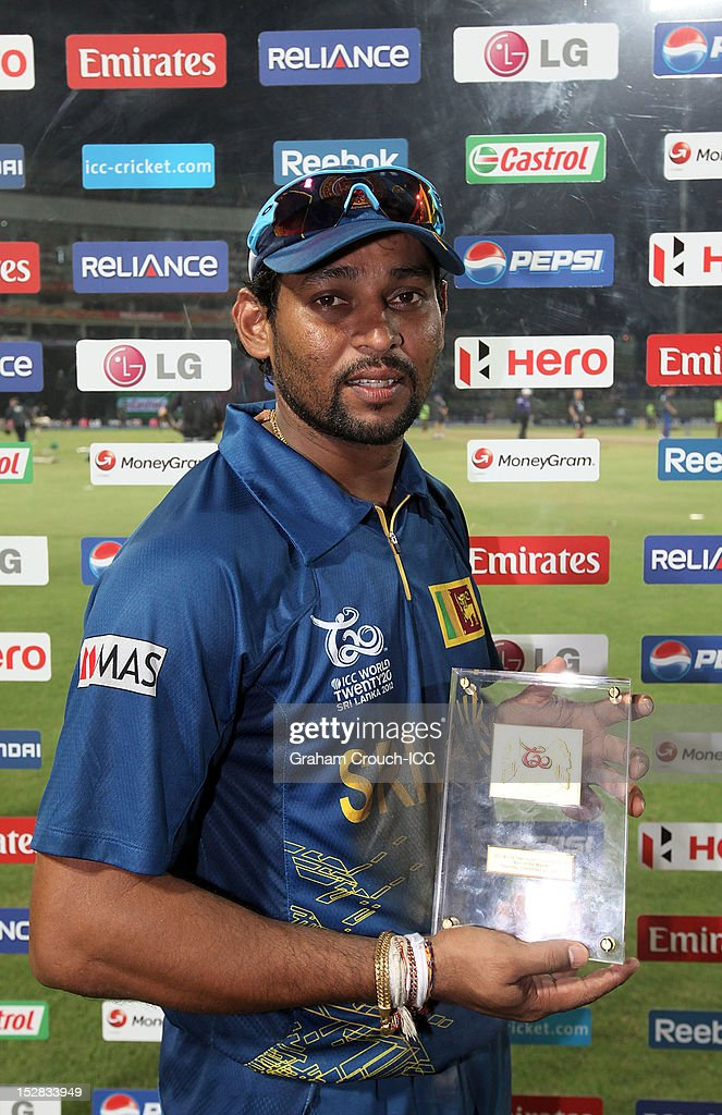 Tilakaratne Dilshan of Sri Lanka, Man of the Match after the C1 versus D2 Super Eight match between Sri Lanka and New Zealand at Pallekele Cricket Stadium on September 27, 2012 in Kandy, Sri Lanka.