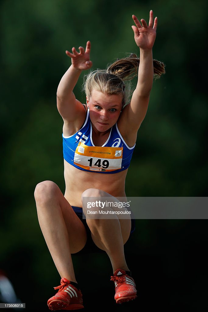 Tilda Lipasti of Finland competes in the Girls Long Jump during the European Youth Olympic Festival held at the Athletics Track Maarschalkersweerd on July 15, 2013 in Utrecht, Netherlands.