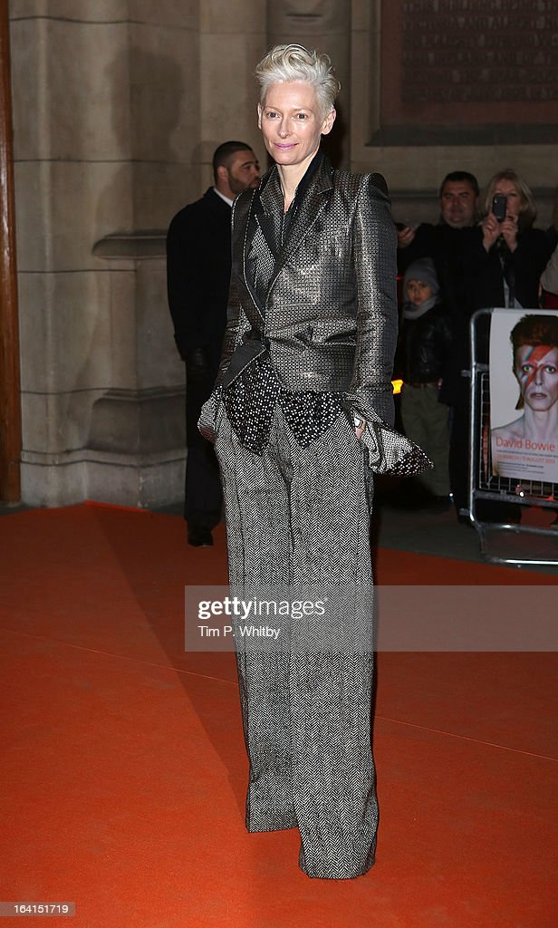 Tilda Swindon attends the private view of 'David Bowie Is' at Victoria & Albert Museum on March 20, 2013 in London, England.