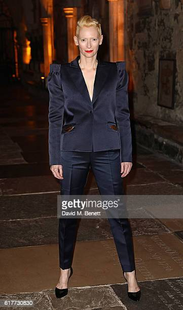 Tilda Swindon attends the red carpet launch event for 'Doctor Strange' at Westminster Abbey on October 24 2016 in London United Kingdom