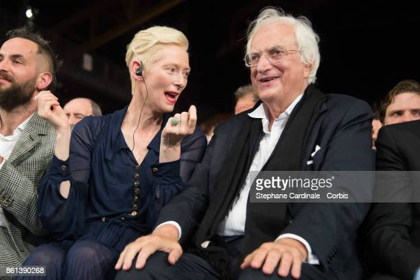 Tilda Swinton and Bertrand Tavernier attend the Opening Ceremony of the 9th Film Festival Lumiere on October 14 2017 in Lyon France