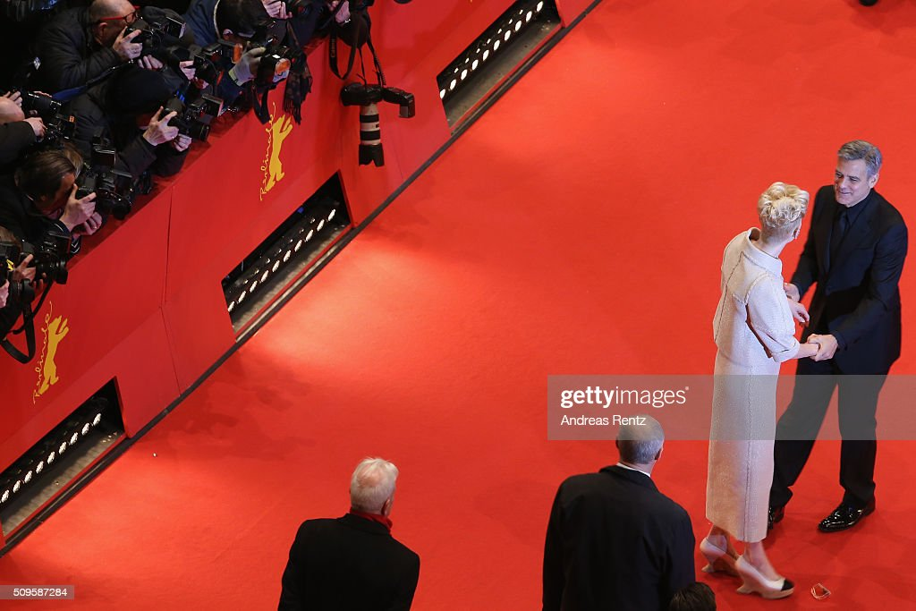 <a gi-track='captionPersonalityLinkClicked' href=/galleries/search?phrase=Tilda+Swinton&family=editorial&specificpeople=202991 ng-click='$event.stopPropagation()'>Tilda Swinton</a> and <a gi-track='captionPersonalityLinkClicked' href=/galleries/search?phrase=George+Clooney&family=editorial&specificpeople=202529 ng-click='$event.stopPropagation()'>George Clooney</a> attend the 'Hail, Caesar!' premiere during the 66th Berlinale International Film Festival Berlin at Berlinale Palace on February 11, 2016 in Berlin, Germany.