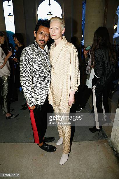Tilda Swinton and Haider Ackermann attend the mytheresacom Haider Ackermann Dinner At Le Grand Vefour as part of Paris Fashion Week Haute Couture...