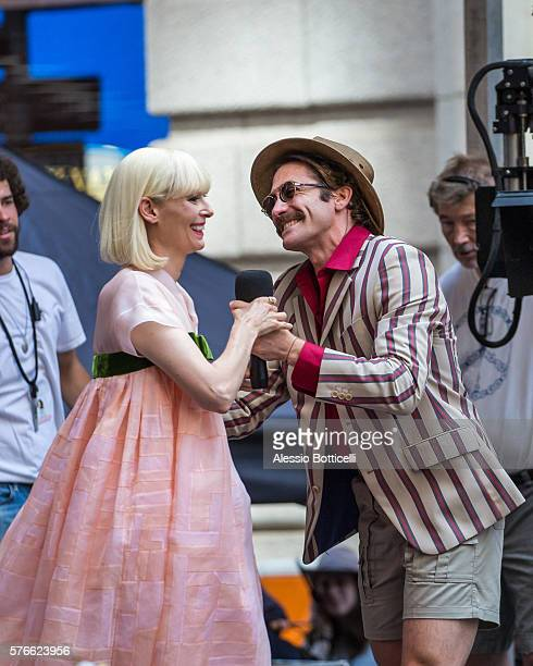 Tilda Swinton and Jake Gyllenhaal are seen on set of 'Okja' in Downtown on July 16 2016 in New York New York