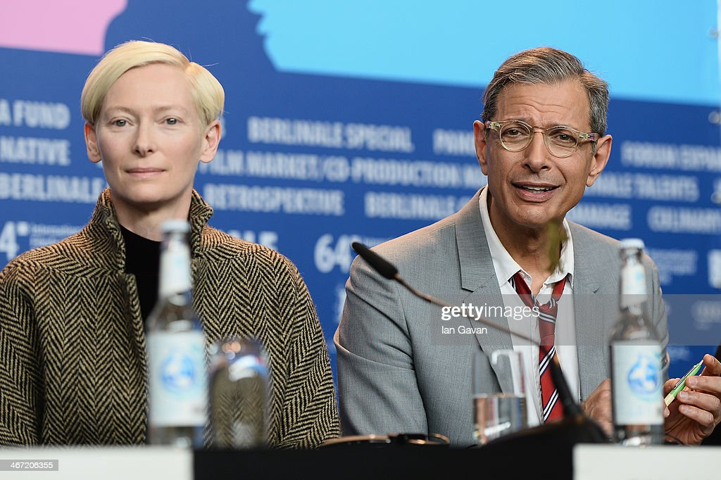 <a gi-track='captionPersonalityLinkClicked' href=/galleries/search?phrase=Tilda+Swinton&family=editorial&specificpeople=202991 ng-click='$event.stopPropagation()'>Tilda Swinton</a> and <a gi-track='captionPersonalityLinkClicked' href=/galleries/search?phrase=Jeff+Goldblum&family=editorial&specificpeople=204160 ng-click='$event.stopPropagation()'>Jeff Goldblum</a> attend 'The Grand Budapest Hotel' press conference during 64th Berlinale International Film Festival at Grand Hyatt Hotel on February 6, 2014 in Berlin, Germany.
