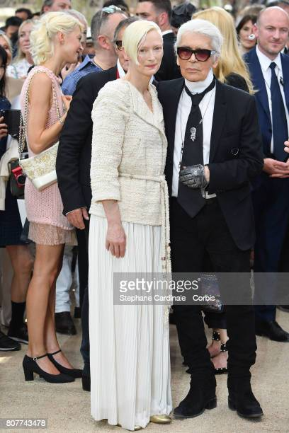 Tilda Swinton and Karl Lagerfeld attend the Chanel Haute Couture Fall/Winter 20172018 show as part of Haute Couture Paris Fashion Week on July 4 2017...