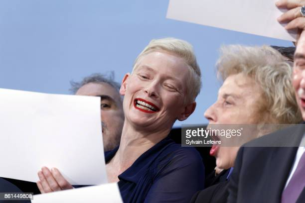 Tilda Swinton and Marisa Paredes attends the opening ceremony of 9th Film Festival Lumiere In Lyon on October 14 2017 in Lyon France