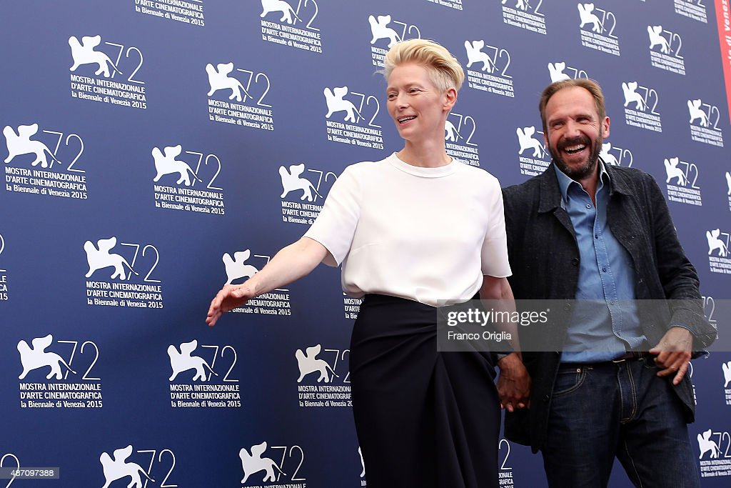 Tilda Swinton and Ralph Fiennes attend a photocall for 'A Bigger Splash' during the 72nd Venice Film Festival at Palazzo del Casino on September 6, 2015 in Venice, Italy.