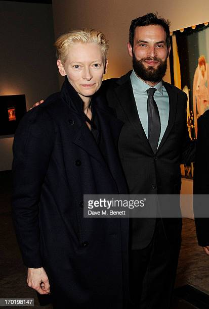 Tilda Swinton and Sandro Kopp attend the Bottletop/Full Circle 2013 Summer Party at Victoria Miro Gallery on June 7 2013 in London England