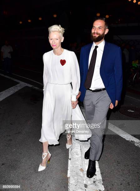 Tilda Swinton and Sandro Kopp seen on the streets of Manhattan on June 8 2017 in New York City