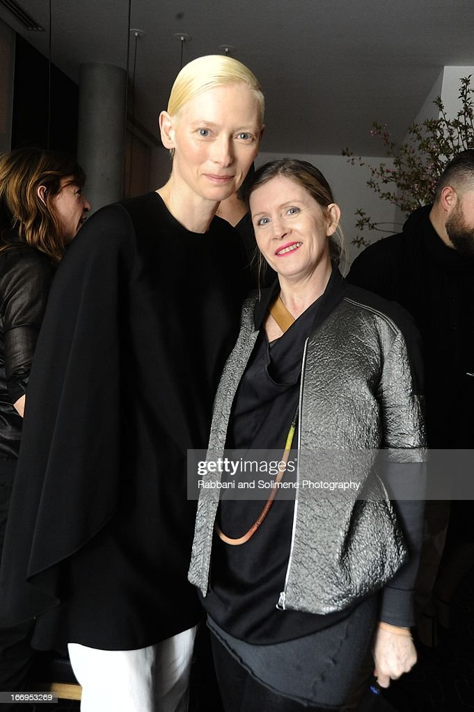 <a gi-track='captionPersonalityLinkClicked' href=/galleries/search?phrase=Tilda+Swinton&family=editorial&specificpeople=202991 ng-click='$event.stopPropagation()'>Tilda Swinton</a> and Victoria Bartlett attends the Stefano Tonchi Celebrates W Magazine's Modern Beauty Issue Honoring <a gi-track='captionPersonalityLinkClicked' href=/galleries/search?phrase=Tilda+Swinton&family=editorial&specificpeople=202991 ng-click='$event.stopPropagation()'>Tilda Swinton</a> at the Perry Street Restaurant on April 18, 2013 in New York City.