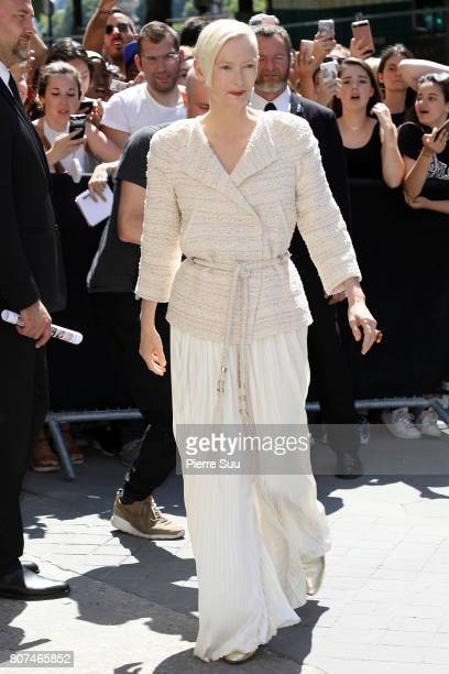 Tilda Swinton arrives at the Chanel Haute Couture Fall/Winter 20172018 show as part of Haute Couture Paris Fashion Week on July 4 2017 in Paris France
