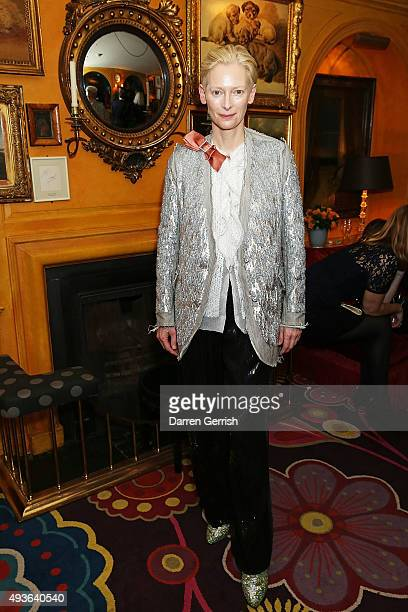 Tilda Swinton attends 'A Bigger Splash' premiere after party presented by AnOther x Dior at Annabel's on October 21 2015 in London England