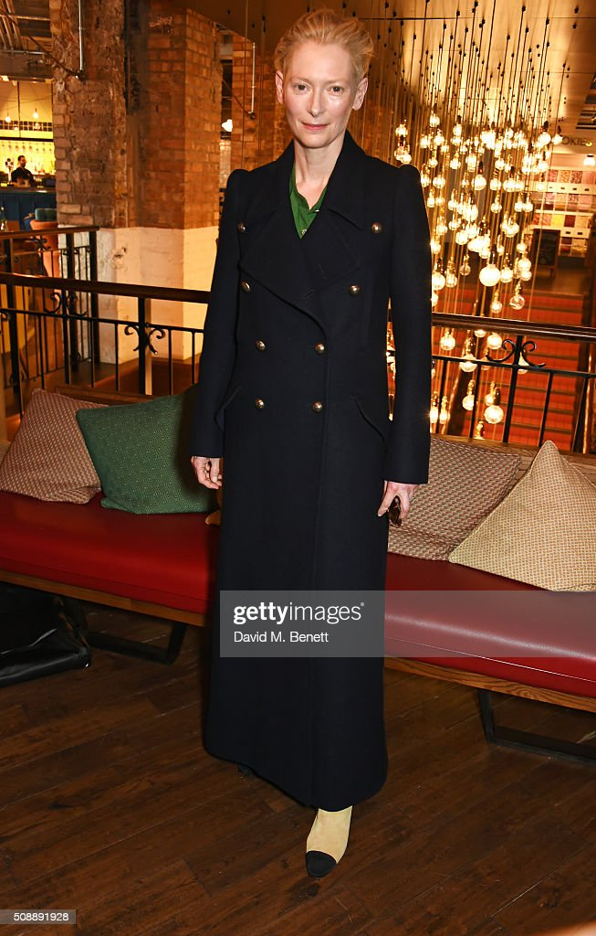 Tilda Swinton attends a photocall for 'A Bigger Splash' at Picturehouse Central on February 7, 2016 in London, England.