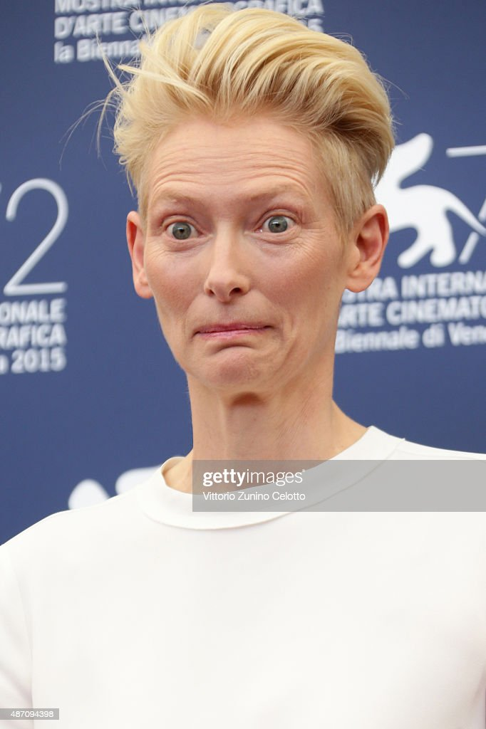 Tilda Swinton attends a photocall for 'A Bigger Splash' during the 72nd Venice Film Festival at Palazzo del Casino on September 6, 2015 in Venice, Italy.