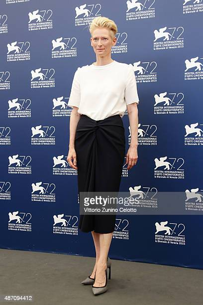 Tilda Swinton attends a photocall for 'A Bigger Splash' during the 72nd Venice Film Festival at Palazzo del Casino on September 6 2015 in Venice Italy