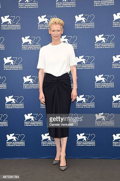 Tilda Swinton attends a photocall for 'A Bigger Splash' during the 72nd Venice Film Festival at on September 6 2015 in Venice Italy