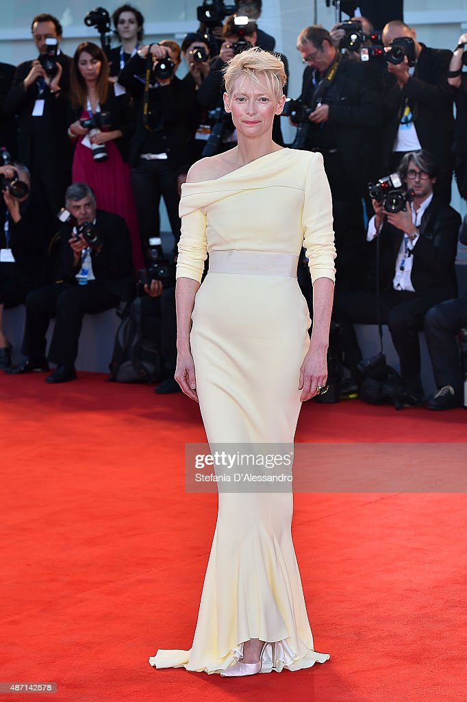 Tilda Swinton attends a premiere for 'A Bigger Splash' during the 72nd Venice Film Festival at on September 6 2015 in Venice Italy