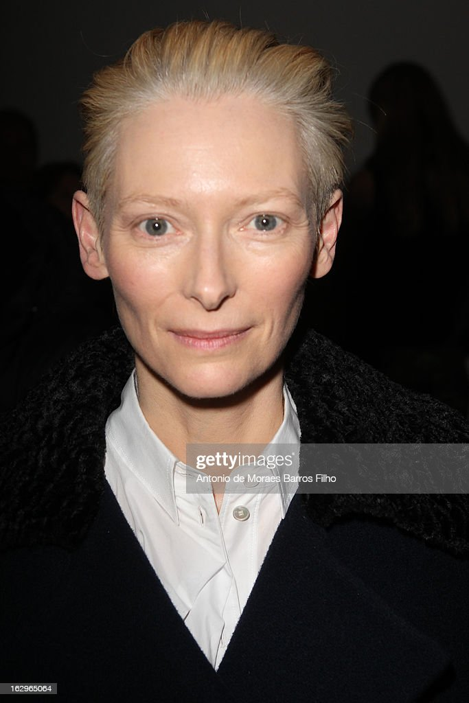 Tilda Swinton attends Acne Studios Fall/Winter 2013 ReadytoWear show as part of Paris Fashion Week on March 2 2013 in Paris France