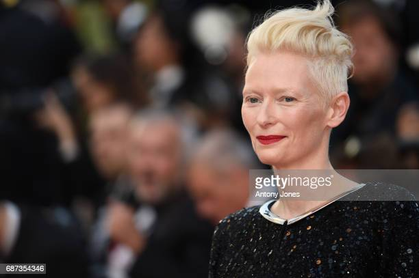 Tilda Swinton attends the 70th Anniversary of the 70th annual Cannes Film Festival at Palais des Festivals on May 23 2017 in Cannes France