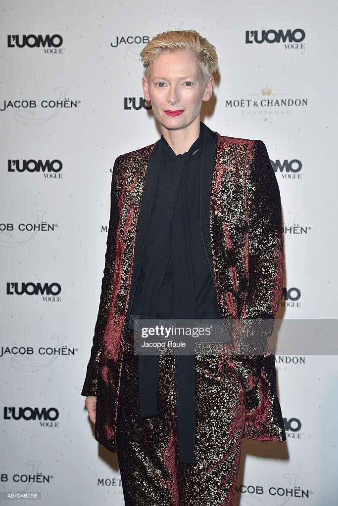 Tilda Swinton attends the 'Being The Protagonist' Party hosted By L'Uomo Vogue during the 72nd Venice Film Festival at San Clemente Palace Hotel on...