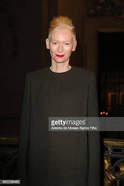 Tilda Swinton attends the Berluti Menswear Fall/Winter 20172018 show as part of Paris Fashion Week on January 20 2017 in Paris France