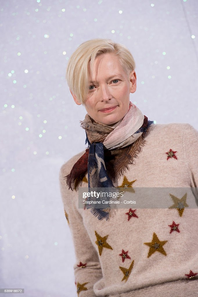 Tilda Swinton attends the Chanel show as part of Paris Fashion Week Haute-Couture Spring/Summer 2014, at Grand Palais in Paris.