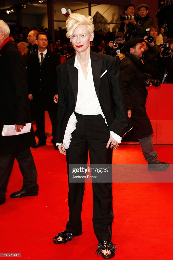 <a gi-track='captionPersonalityLinkClicked' href=/galleries/search?phrase=Tilda+Swinton&family=editorial&specificpeople=202991 ng-click='$event.stopPropagation()'>Tilda Swinton</a> attends 'The Grand Budapest Hotel' Premiere and opening ceremony during the 64th Berlinale International Film Festival at Berlinale Palast on February 6, 2014 in Berlin, Germany.