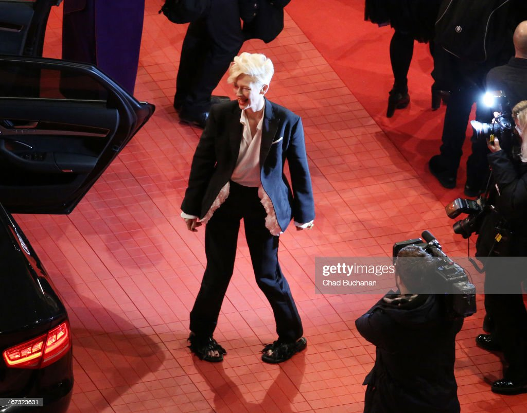 <a gi-track='captionPersonalityLinkClicked' href=/galleries/search?phrase=Tilda+Swinton&family=editorial&specificpeople=202991 ng-click='$event.stopPropagation()'>Tilda Swinton</a> attends 'The Grand Budapest Hotel' Premiere during the 64th Berlinale International Film Festival at Berlinale Palast on February 6, 2014 in Berlin, Germany.