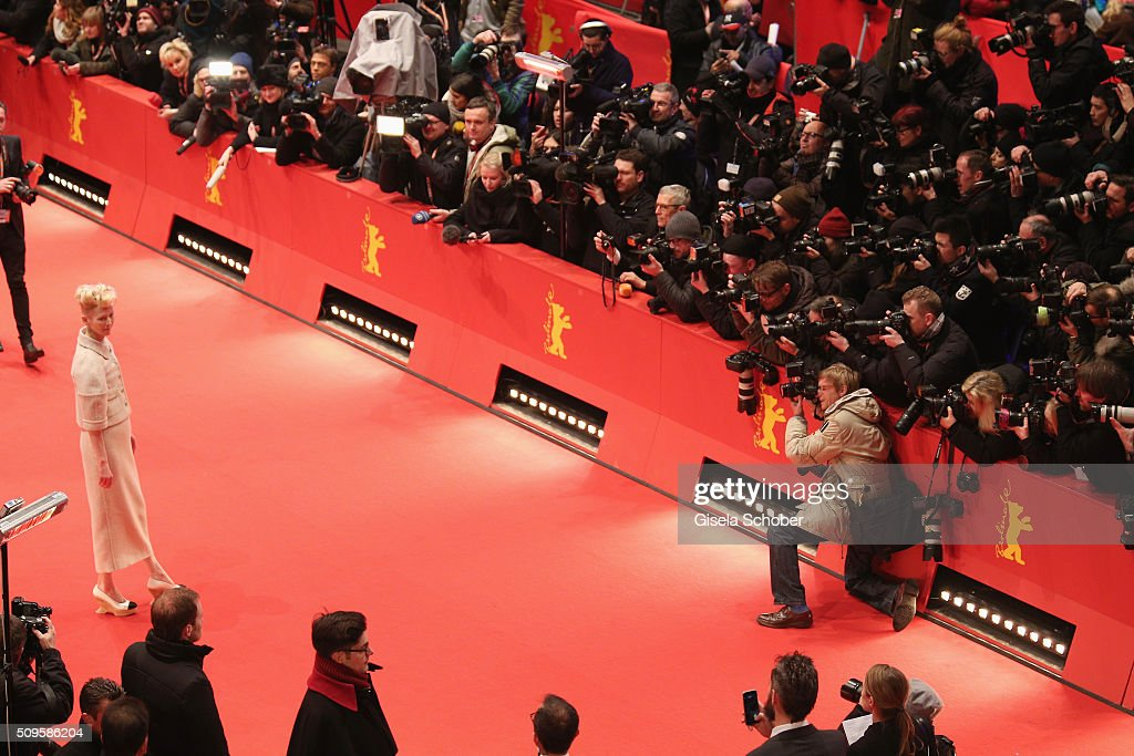 <a gi-track='captionPersonalityLinkClicked' href=/galleries/search?phrase=Tilda+Swinton&family=editorial&specificpeople=202991 ng-click='$event.stopPropagation()'>Tilda Swinton</a> attends the 'Hail, Caesar!' premiere during the 66th Berlinale International Film Festival Berlin at Berlinale Palace on February 11, 2016 in Berlin, Germany.