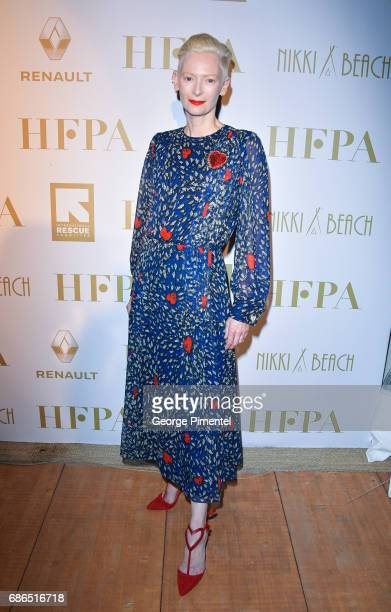 Tilda Swinton attends the Hollywood Foreign Press Association's 2017 Cannes Film Festival Event in honour of the International Rescue Committee...
