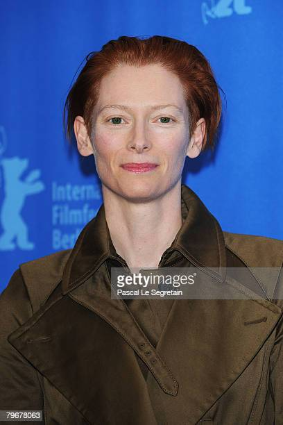 Tilda Swinton attends the 'Julia' Photocall and Press Conference as part of the 58th Berlinale Film Festival at the Grand Hyatt Hotel on February 9...