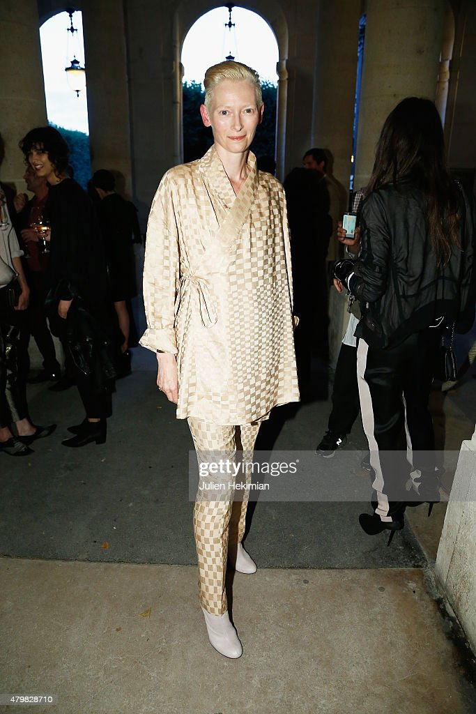 Tilda Swinton attends the mytheresacom Haider Ackermann Dinner At Le Grand Vefour as part of Paris Fashion Week Haute Couture Fall/Winter 2015/2016...
