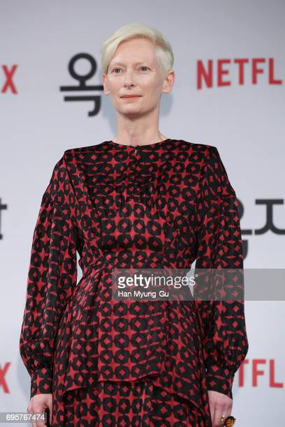 Tilda Swinton attends the 'Okja' press conference on June 14 2017 in Seoul South Korea