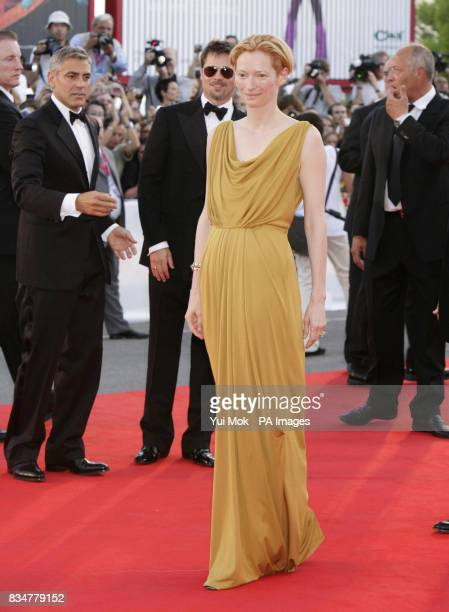 Tilda Swinton attends the opening night screening for Burn After Reading at the 65th Venice Film Festival Venice Italy