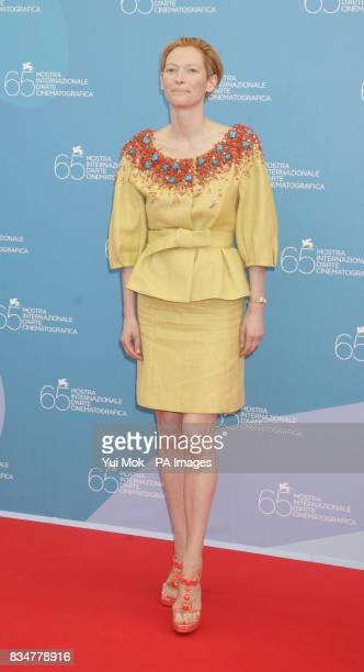 Tilda Swinton attends the photocall for Burn After Reading at the 65th Venice Film festival Venice Italy