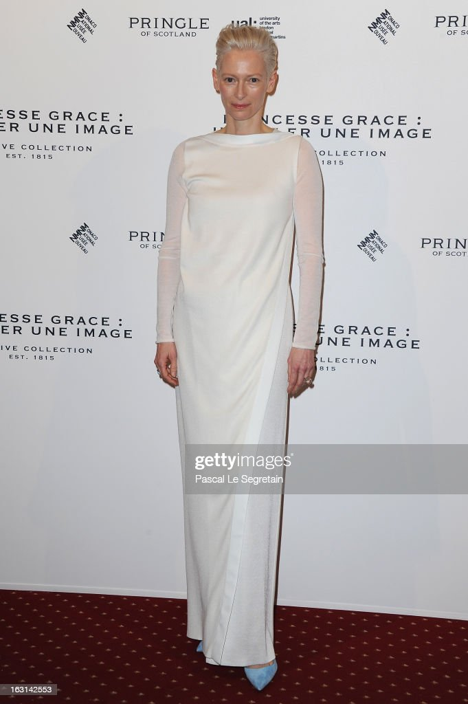 Tilda Swinton attends the Pringle Of Scotland Archive Collection Presentation as part of Paris Fashion Week at Salon France-Ameriques on March 5, 2013 in Paris, France.