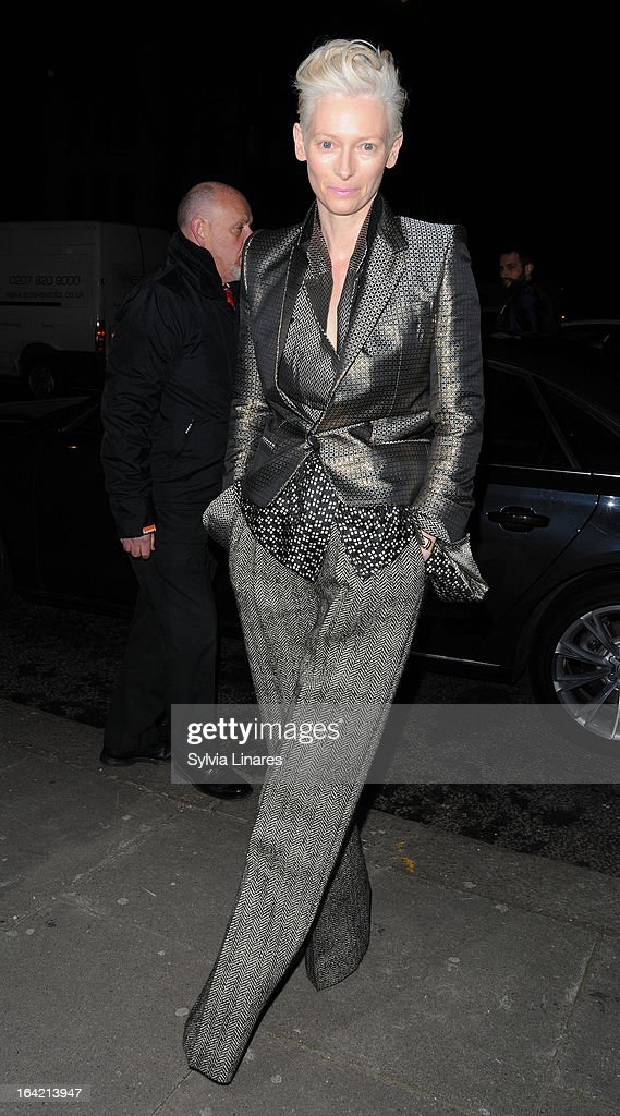 Tilda Swinton attends the Private View of the 'David Bowie Is' Exhibition held at he Victoria and Albert Museum departures on March 20 2013 in London...