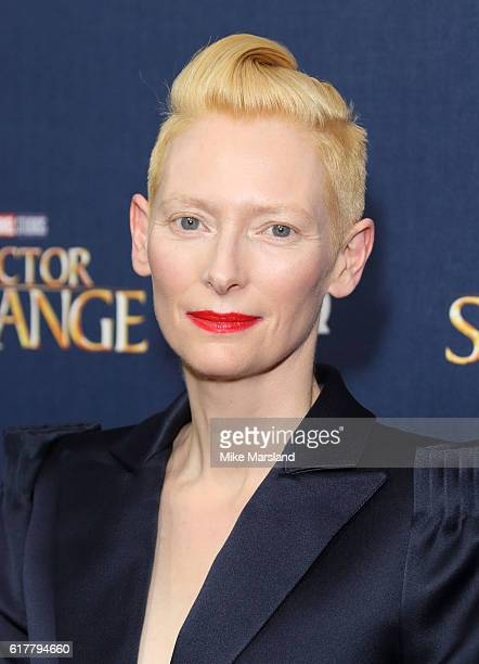 Tilda Swinton attends the red carpet launch event for 'Doctor Strange' on October 24 2016 in London United Kingdom