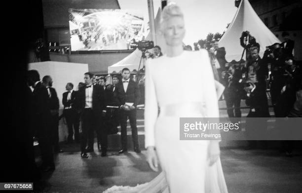 Tilda Swinton attends the screening of Jupiters Moon during the 70th Annual Cannes Film Festival on June 1 2017 in Cannes France To celebrate the...