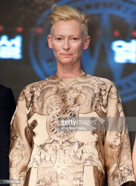 Tilda Swinton attends the 'Snowpiercer' premiere red carpet at Time Square on July 29 2013 in Seoul South Korea