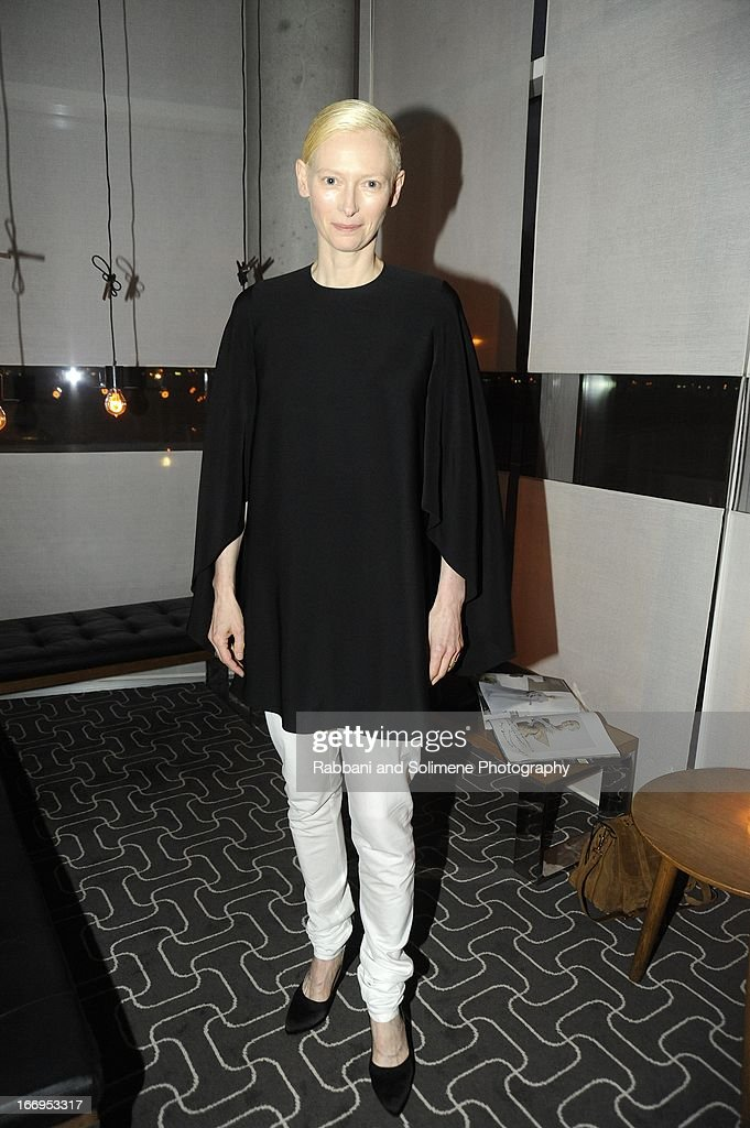 <a gi-track='captionPersonalityLinkClicked' href=/galleries/search?phrase=Tilda+Swinton&family=editorial&specificpeople=202991 ng-click='$event.stopPropagation()'>Tilda Swinton</a> attends the Stefano Tonchi Celebrates W Magazine's Modern Beauty Issue Honoring <a gi-track='captionPersonalityLinkClicked' href=/galleries/search?phrase=Tilda+Swinton&family=editorial&specificpeople=202991 ng-click='$event.stopPropagation()'>Tilda Swinton</a> at the Perry Street Restaurant on April 18, 2013 in New York City.