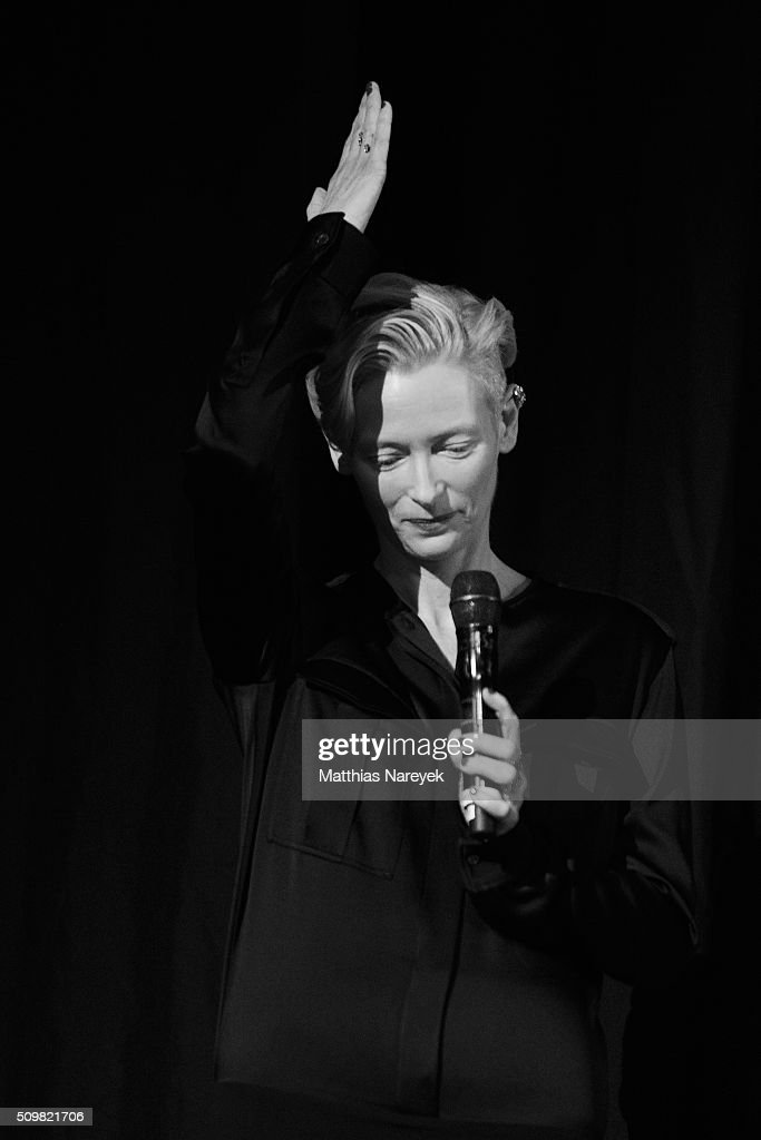 <a gi-track='captionPersonalityLinkClicked' href=/galleries/search?phrase=Tilda+Swinton&family=editorial&specificpeople=202991 ng-click='$event.stopPropagation()'>Tilda Swinton</a> attends the 'Tribute to David Bowie: The Man Who Fell to Earth' screening during the 66th Berlinale International Film Festival Berlin at Friedrichstadt-Palast on February 12, 2016 in Berlin, Germany.
