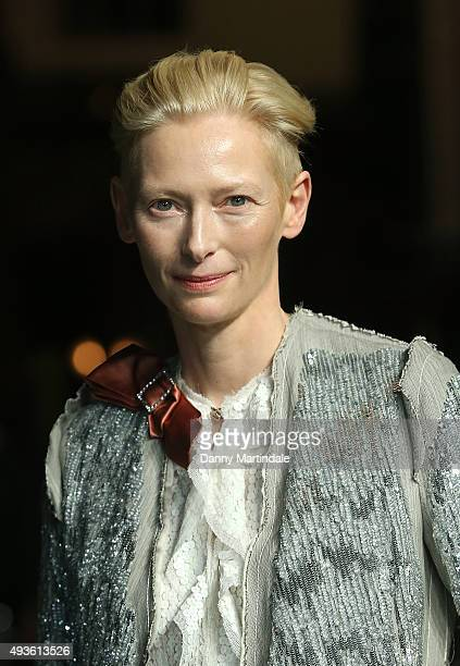Tilda Swinton attends the VIP Premiere of 'A Bigger Splash' hosted by AnOther magazine and Dior at The Curzon Mayfair on October 21 2015 in London...