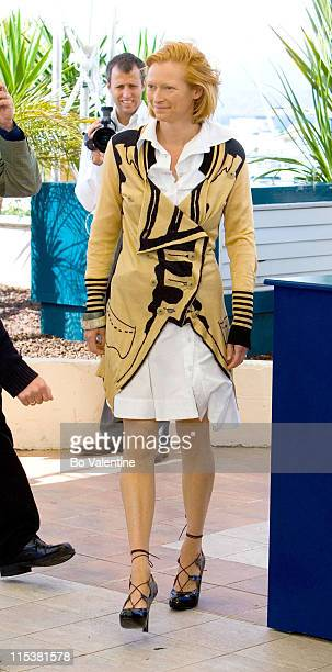 Tilda Swinton during 2005 Cannes Film Festival 'Broken Flowers' Photocall at Terasse Riviera in Cannes France