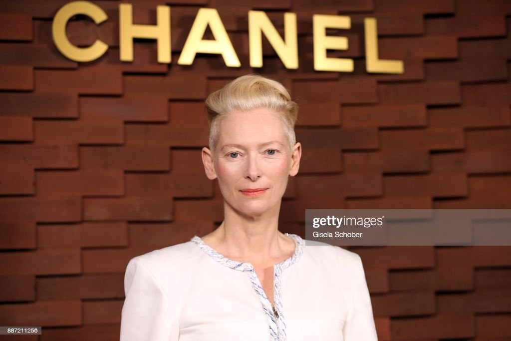 Tilda Swinton during the Chanel 'Trombinoscope' Collection des Metiers d'Art 2017/18 photo call at Elbphilharmonie on December 6, 2017 in Hamburg, Germany.