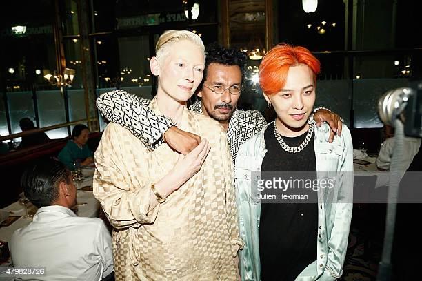 Tilda Swinton Haider Ackermann and G Dragon attend the mytheresacom Haider Ackermann Dinner At Le Grand Vefour as part of Paris Fashion Week Haute...