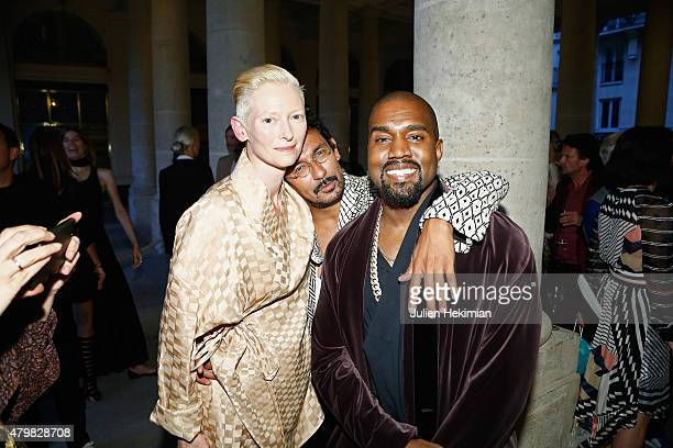 Tilda Swinton Haider Ackermann and Kanye West attends the mytheresacom Haider Ackermann Dinner At Le Grand Vefour as part of Paris Fashion Week Haute...