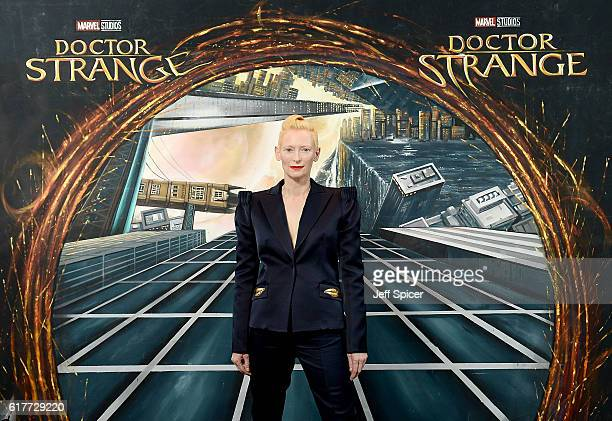 Tilda Swinton in front of the Doctor Strange inspired 3D Art at a fan screening to celebrate the release of Marvel Studio's Doctor Strange at the...